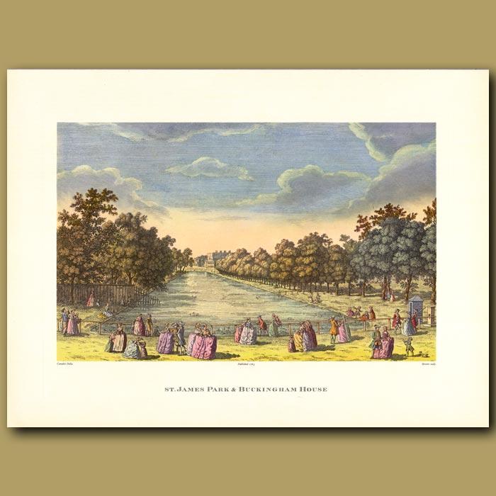 Antique print. St.James Park and Buckingham House