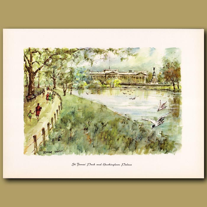 Antique print. St James Park and Buckingham Palace