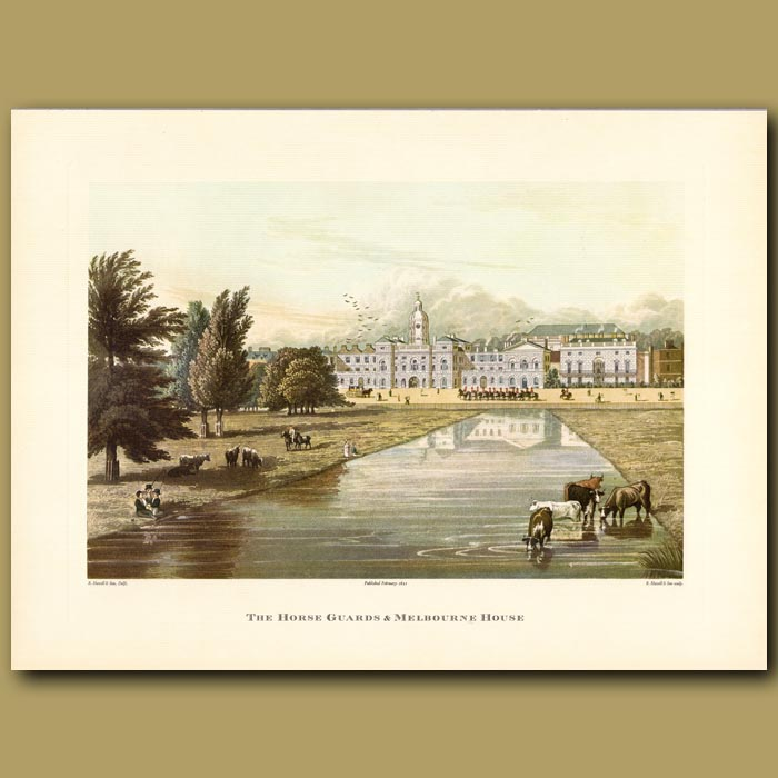 Antique print. The Horse Guards and Melbourne House