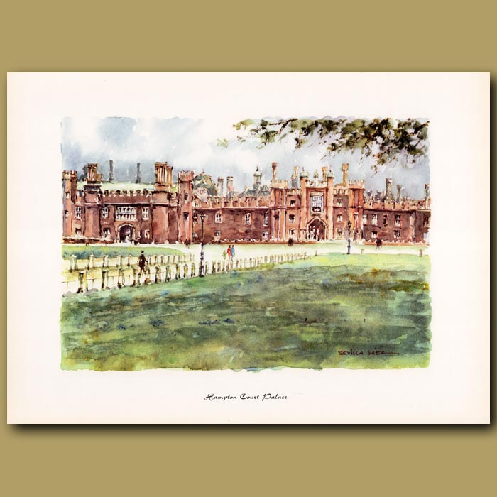 Antique print. Hampton Court Palace