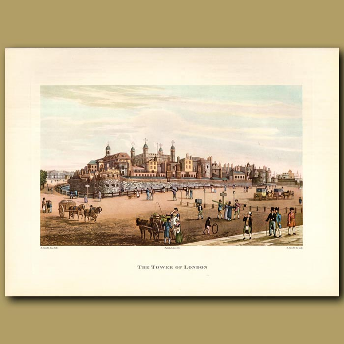 Antique print. The Tower of London