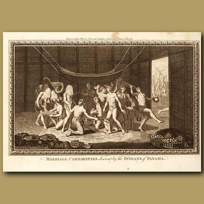 Antique print. Marriage Ceremonies Performed By Indians At Panama