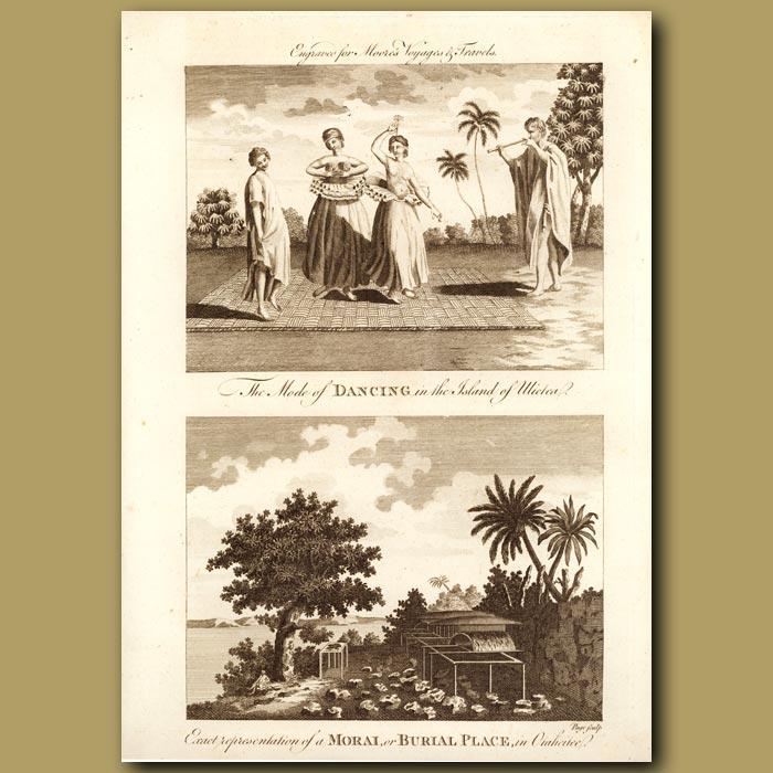 Antique print. Mode Of Dancing On Ulietea