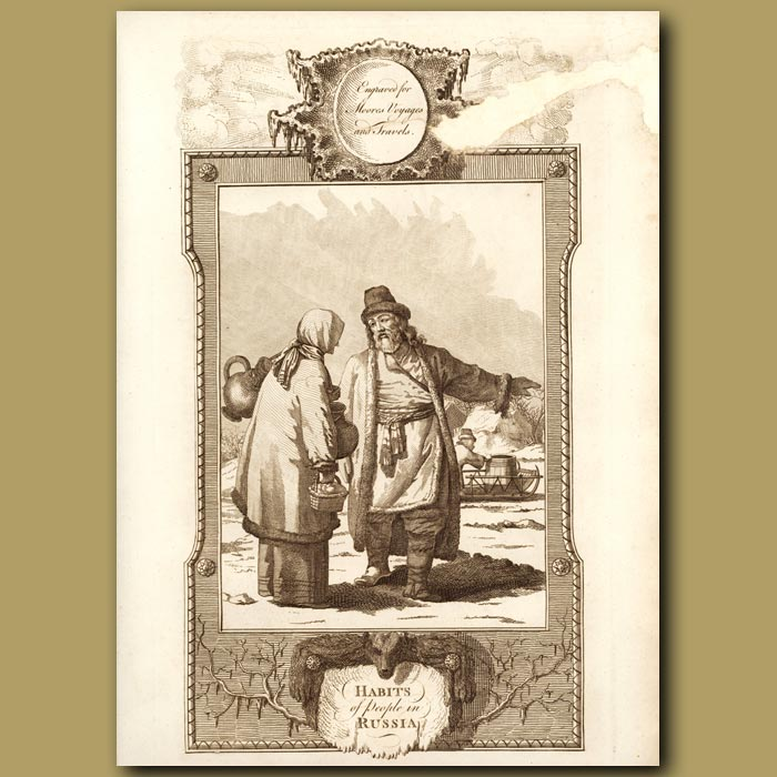 Antique print. Habits Of The People Of Russia