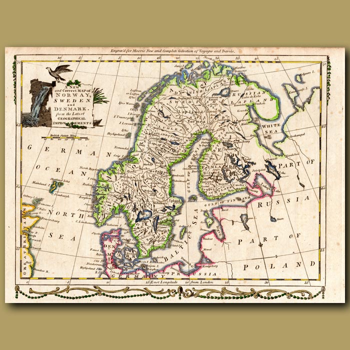 Antique print. Map Of Norway, Sweden and Denmark