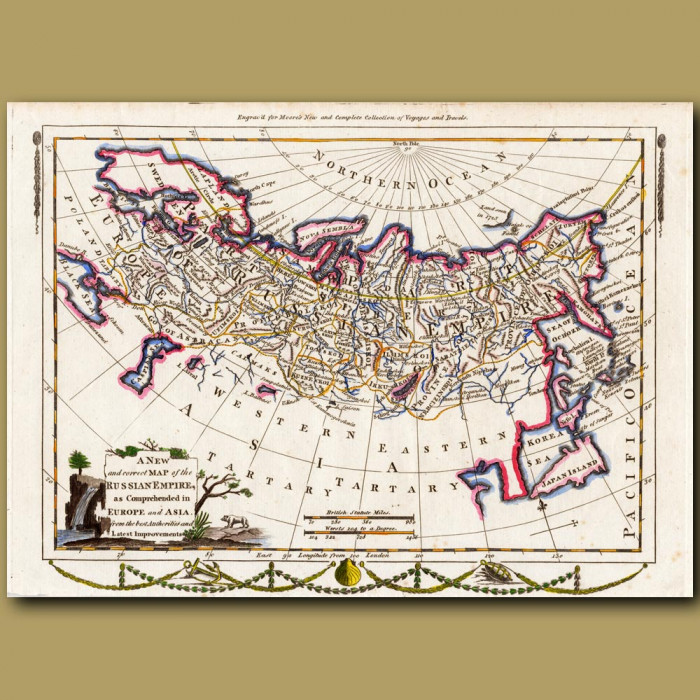 Antique print. Map Of The Russian Empire