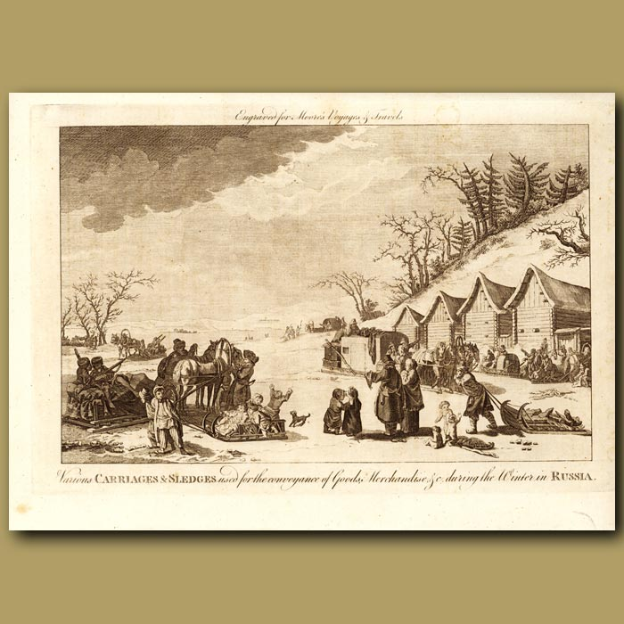 Antique print. Carriages And Sledges In Russia