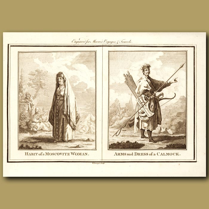 Antique print. Habits And Dress Of Russians