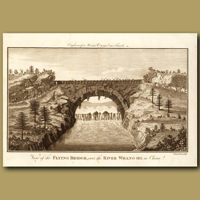 Antique print. View Of The Flying Bridge In China