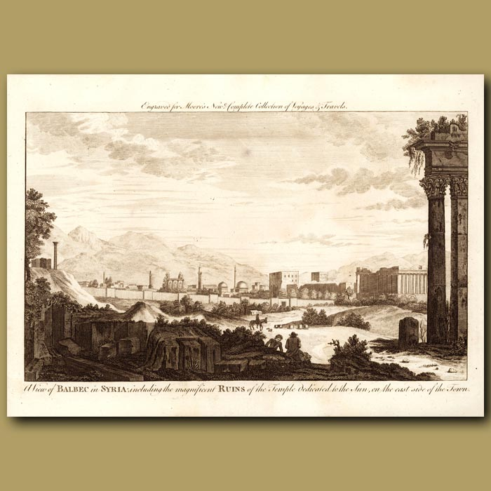Antique print. View Of Balbec In Syria