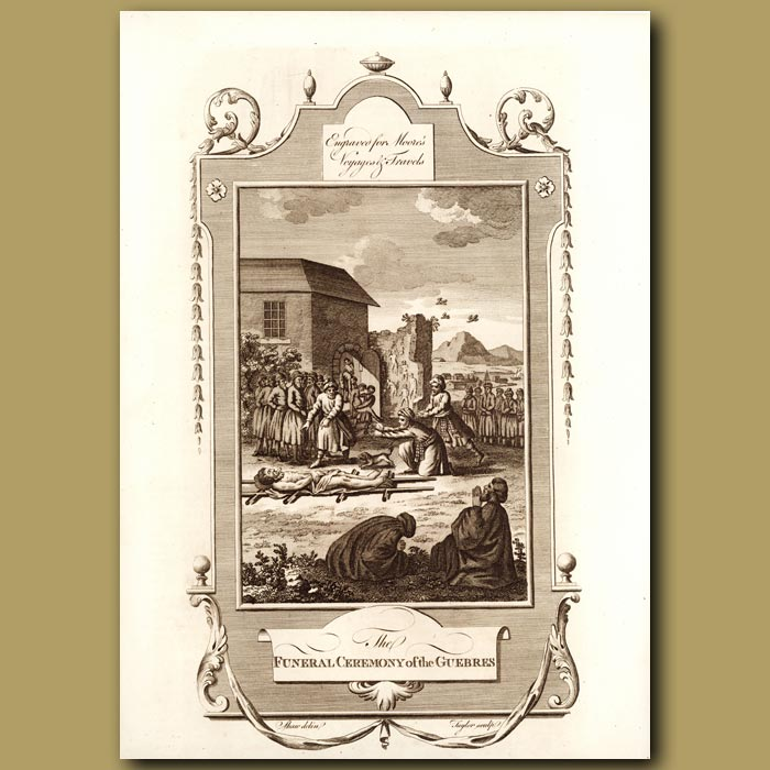 Antique print. Funeral Of The Guebres