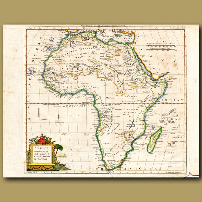 Antique print. Map Of Africa