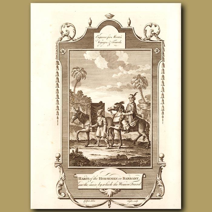 Antique print. Horsemen In Barbary