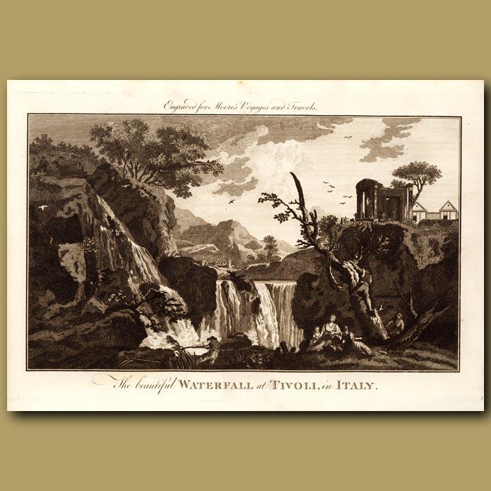 Antique print. Waterfall At Tivoli