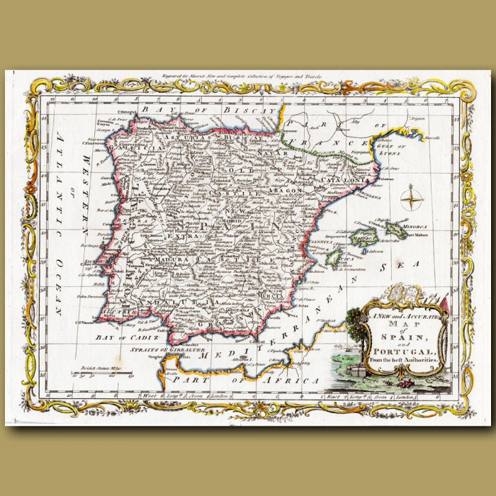 Antique print. Map Of Spain And Portugal