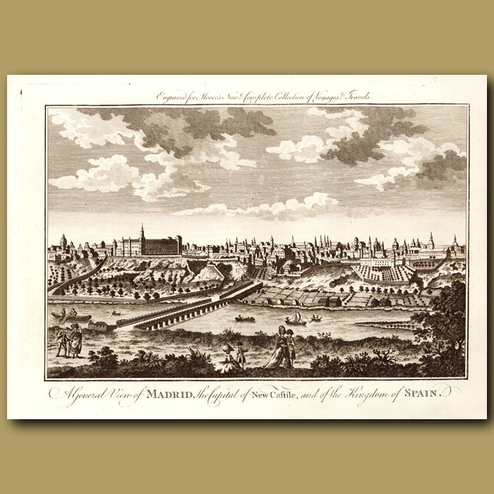 Antique print. General View Of Madrid