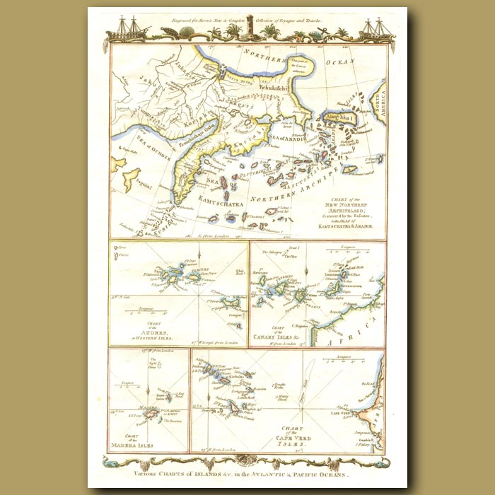 Antique print. Map Of Kamschatka, Cape Verde, Canary And Azores Islands