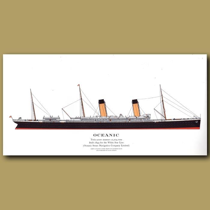 Antique print. Oceanic – ocean liner passenger ship from 1899