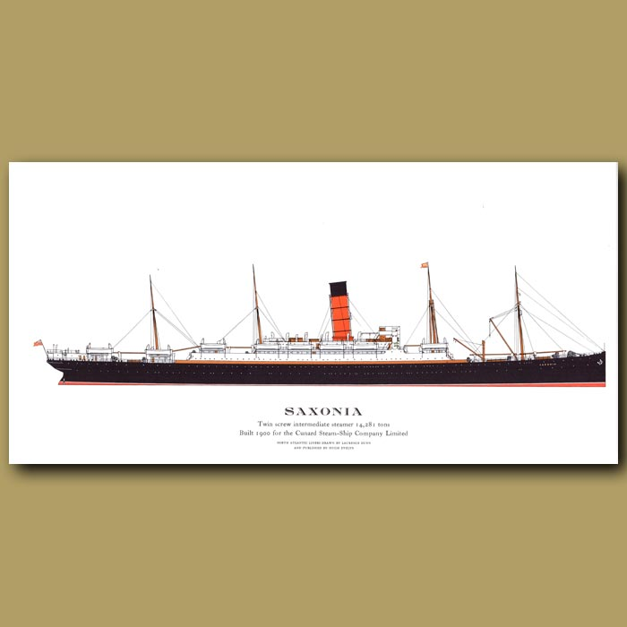 Antique print. Saxonia – ocean liner passenger ship from 1900