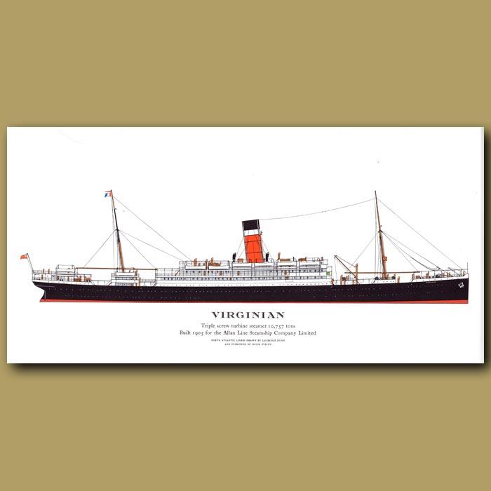 Antique print. Virginian- ocean liner passenger ship from 1905