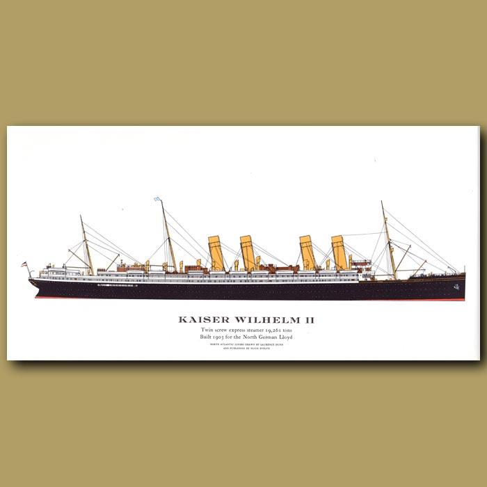 Antique print. Kaiser Wilhelm II – ocean liner passenger ship from 1903