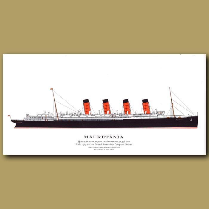 Antique print. Mauretania – ocean liner passenger ship from 1907
