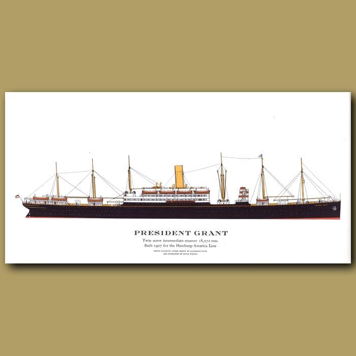Antique print. President Grant – ocean liner passenger ship from 1907
