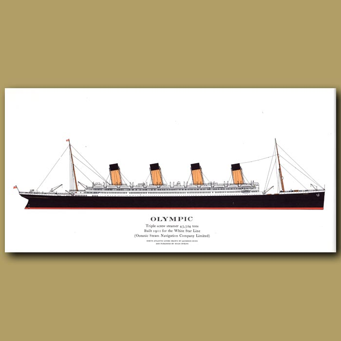 Antique print. Olympic – ocean liner passenger ship from 1911