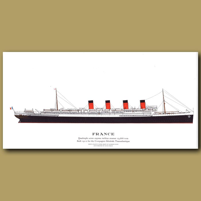 Antique print. France – ocean liner passenger ship from 1912