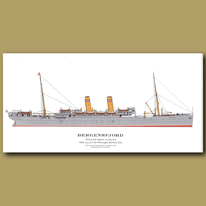 Antique print. Bergensfjord – ocean liner passenger ship from 1913