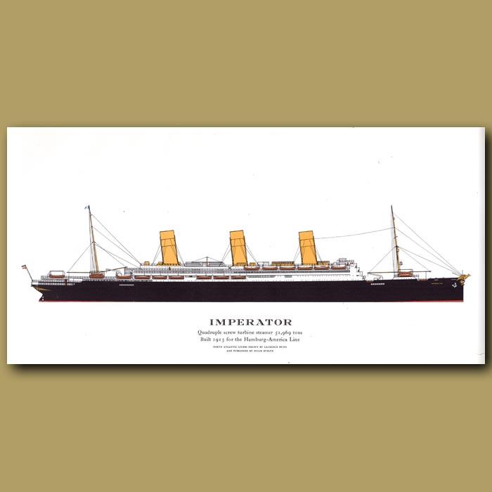 Antique print. Imperator – ocean liner passenger ship from 1913