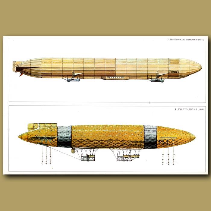Antique print. Airship: Zeppelin LZ10 'Schwaben' and Schutte-Lanz SL1 1911