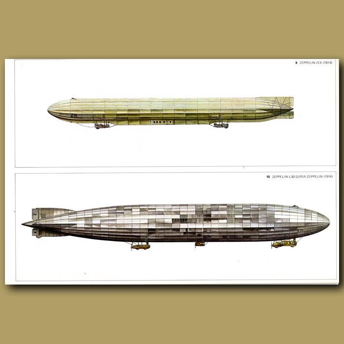 Antique print. Airship: Zeppelin ZIX 1914 and Zeppelin L30 Super Zeppelin 1916