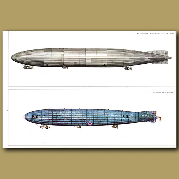 Antique print. Airship: Zeppelin L59 'Afrika-Zeppelin' 1917 and Beardmore R34 1919