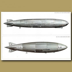 Airship: Zeppelin LZ127 'Graf Zeppelin' 1928 and Royal airship Works R101 1929