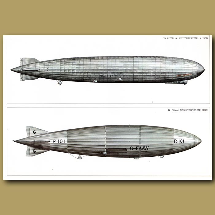 Antique print. Airship: Zeppelin LZ127 'Graf Zeppelin' 1928 and Royal airship Works R101 1929