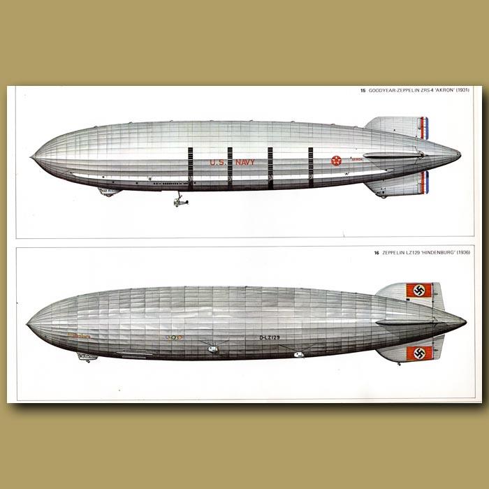 Antique print. Airship: Goodyear Zeppelin ZRS 4 1931 and Zeppelin LZ129 'Hindenburg' 1936