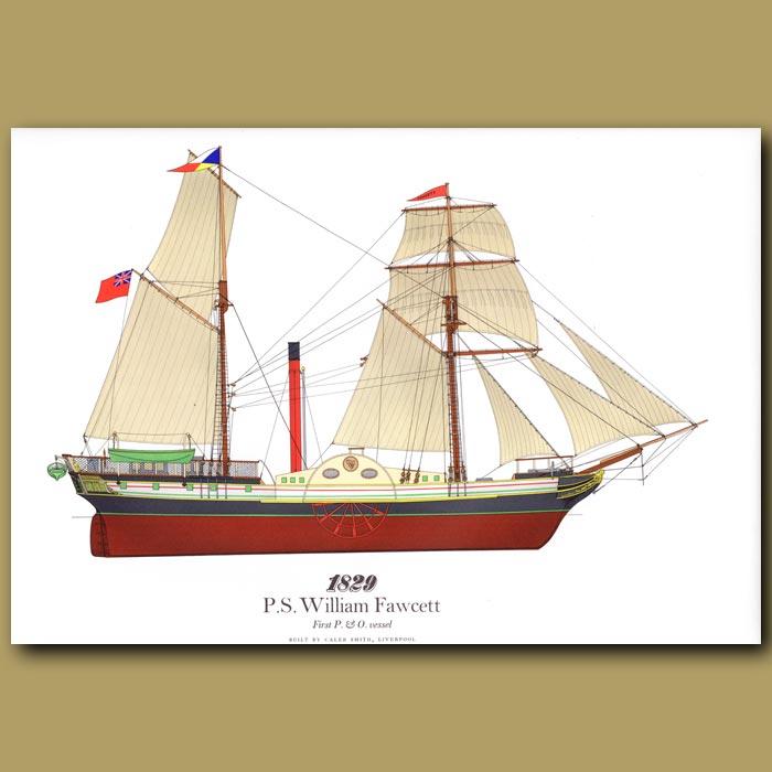 Antique print. Paddle Steamer William Fawcett 1829