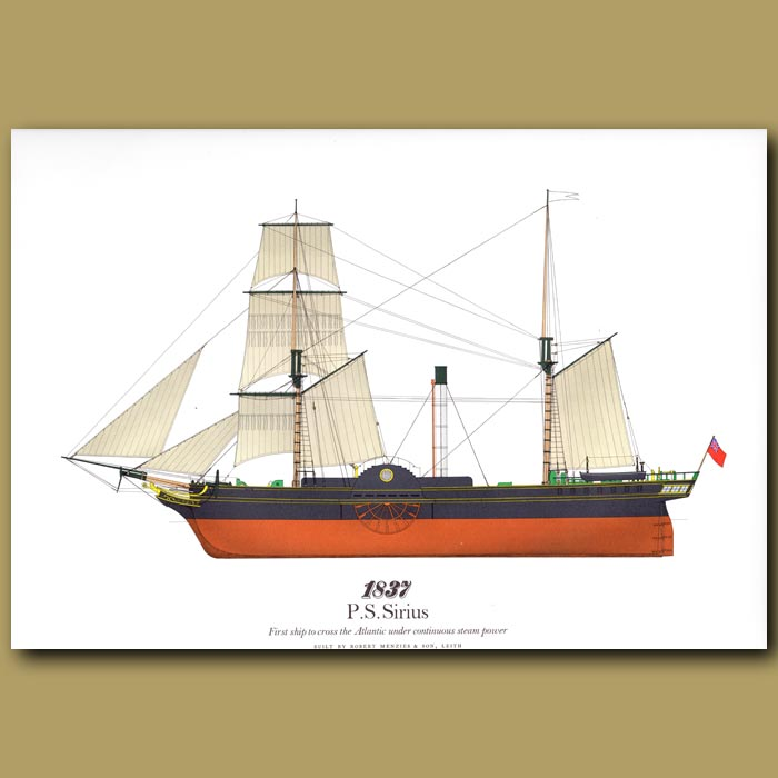 Antique print. Paddle Steamer Sirius 1837