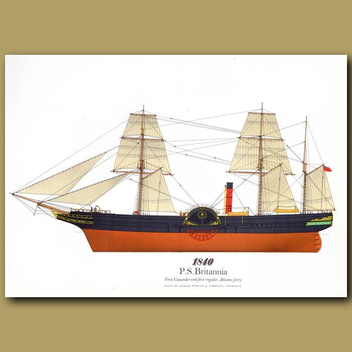 Antique print. Paddle Steamer Britannia 1840