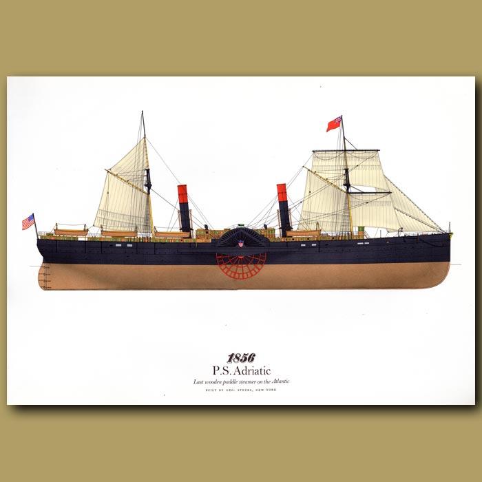 Antique print. Paddle Steamer Adriatic 1856