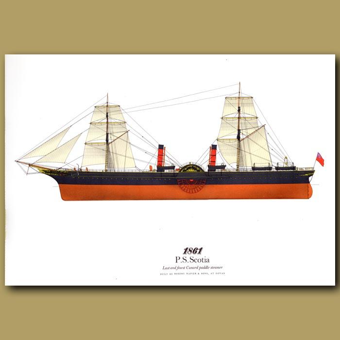 Antique print. Paddle Steamer Scotia 1861