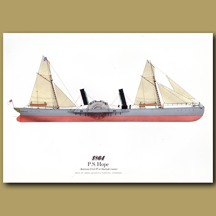 Antique print. Paddle Steamer Hope 1864