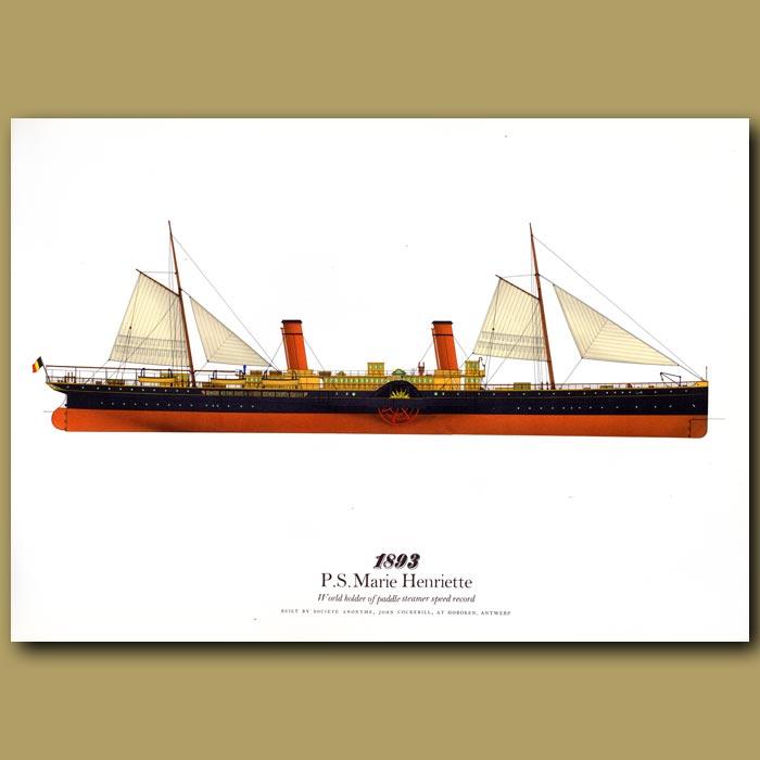 Antique print. Paddle Steamer Marie Henriette 1893