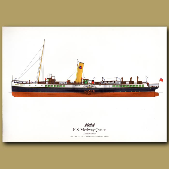 Antique print. Paddle Steamer Medway Queen 1924