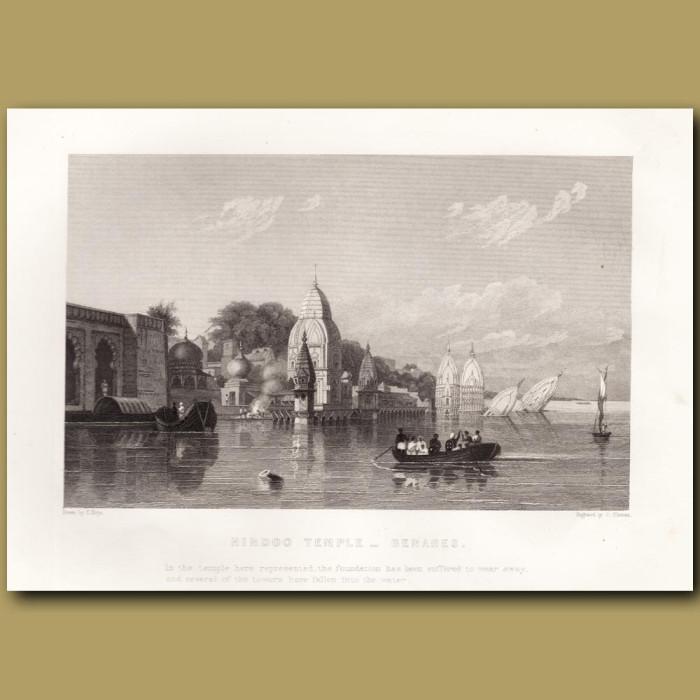 Hindu Temple in Varanasi: Genuine antique print for sale.