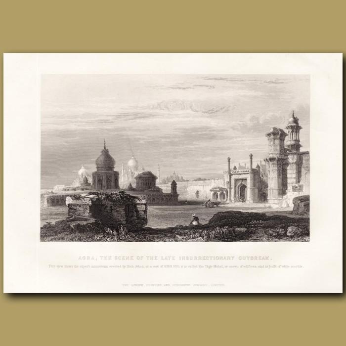 Agra, the Taj Mahal: Genuine antique print for sale.