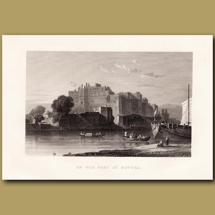 An old fort at Muttra: Genuine antique print for sale.