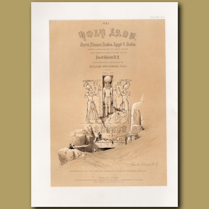 Frontispiece. Entrance To The Great Temple Of Aboo-Simbel, Nubia. Title Vignette