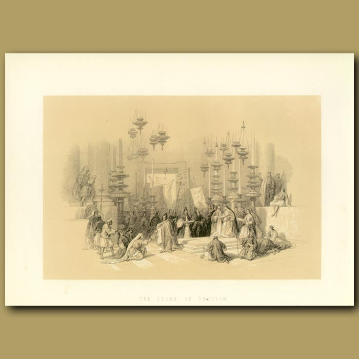 Antique print. The Stone Of Unction